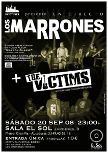 Marrones + The Victims el 20 en la sal Sol... te esperamos!